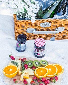 Picnic, Fruit, Basket, Flowers, Bottle, Table Setup