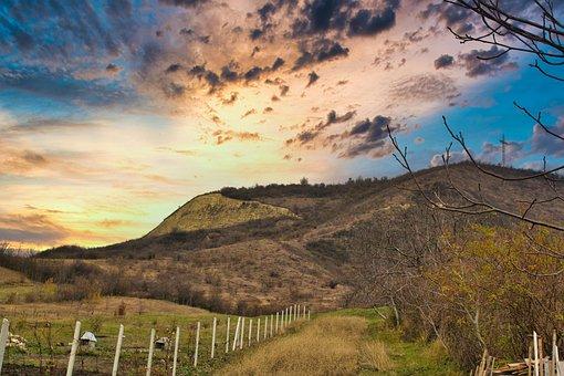 Mountain, Valley, Summit, Sunrise, Sunset, Nature