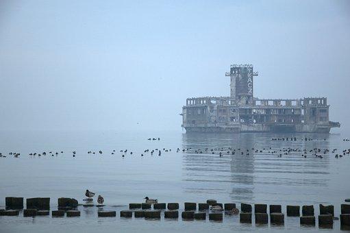 Ruins, Building, Structure, Sea, Ocean, Military