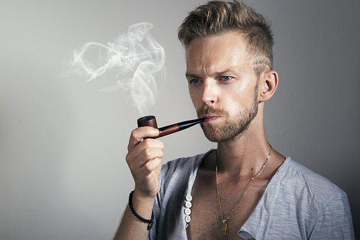 Man, Serious, Confident, Pipe, Smoking, Handsome