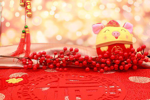 Pig, Stuffed Animal, Berries, Decor, Decorative