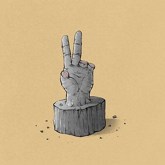 Victory Sign, Fingers, Caricature, Symbol, Sculpture