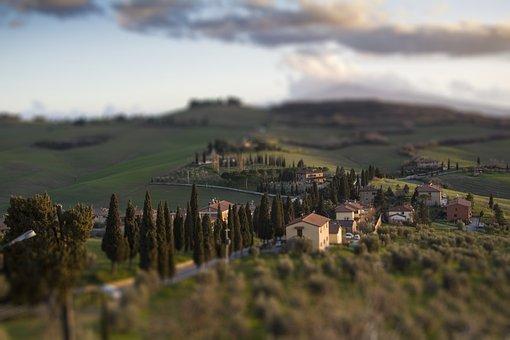 Trees, Hills, Valleys, Village, Monticchiello, Tuscany