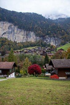 Village, Mountains, Lauterbrunnen, Meadow, Pasture
