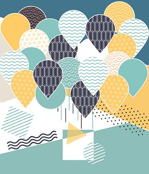 Balloons, Pattern, Card, Decoration, Mail, Holiday