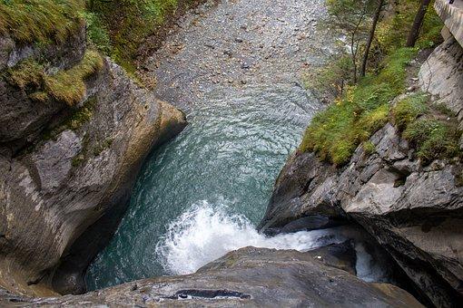 Waterfall, River, Trümmelbachfall, Water, Rock, Fresh