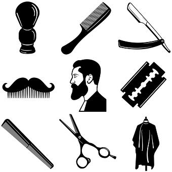 Man, Beard, Barber, Barbershop, Scissors, Crest