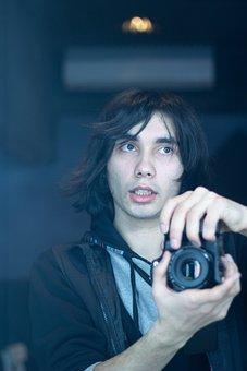Man, Camera, Photographer, Self Portrait, Author