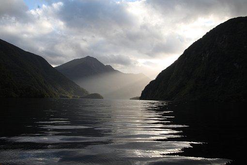Sea, Mountains, New Zealand, Sun Rays, Sunlight, Ocean
