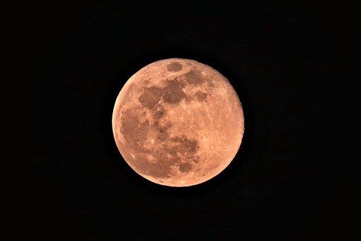Month, Luna, Full Moon, Night, Sky, Dark, Universe, Red