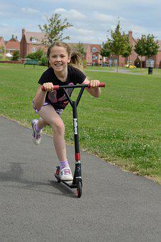 Girl, Scooter, Young, Smile, Playing, Park, Playground