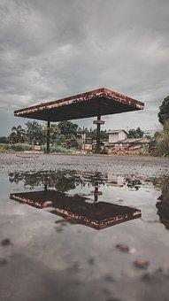 Gas Station, Puddle, Refledtion, Abandoned, Rain