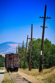 Wagon, Railway, Rails, Masts, Wild West, Ranch