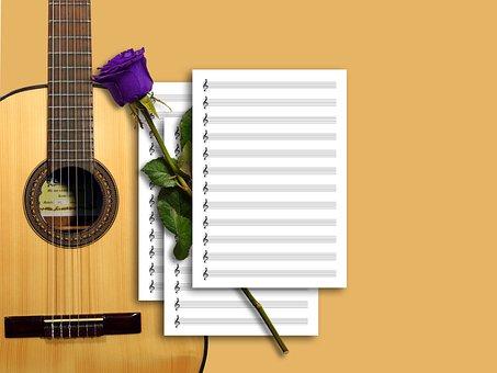 Guitar, Sheet Music, Music, Rose, Musical Instrument