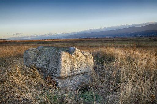 Sarcophagus, Tomb, Sunset, Twilight, Farmers Field