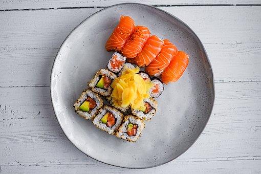 Sushi, Fish, Salmon, Tuna, Rice, Seafood, Seaweed
