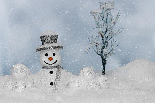 Snowman, Snow, Snowflakes, Christmas Motif, Christmas