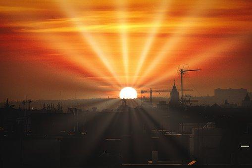 Sun Rays, City, Silhouette, Sun, Sunlight, Orange Sky