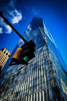 World Trade Center, Building, Traffic Lights, Facade