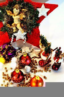 Ornaments, Angel, Stars, Fir Tree, Gifts, Christmas