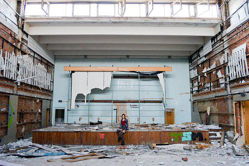 Building, Interior, Abandoned, Assembly Hall, Scene