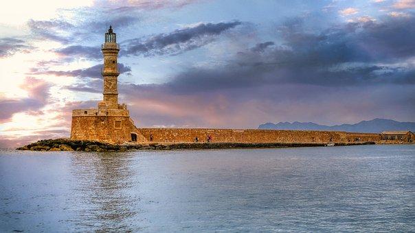 Lighthouse, Sea, Chania, Twilight, Dusk, Dawn, Port