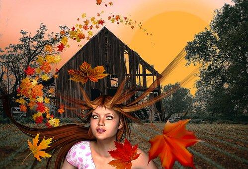 Wind, Windy, Fall Leaves, Blowing Leaves, Girl, Hair