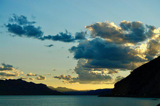 Lake, Mountains, Sunset, Silhouette, Clouds, Sky, Dusk