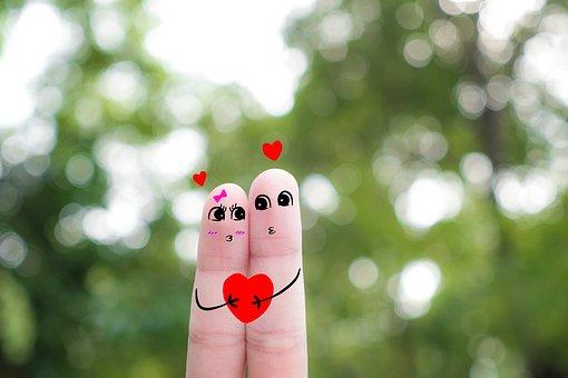 Finger Art, Couple, Love, Valentine, Heart, Romantic