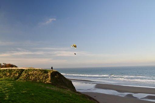 Paragliding, Parachute, Beach, Sport