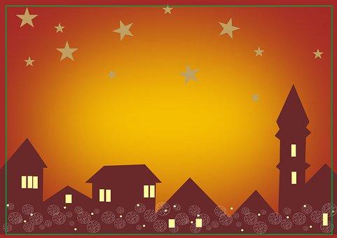 Christmas, Houses, Background, Stars, Skyline