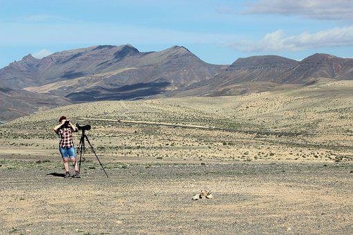 Birdwatching, Girl, Desert, Telescope, Birding