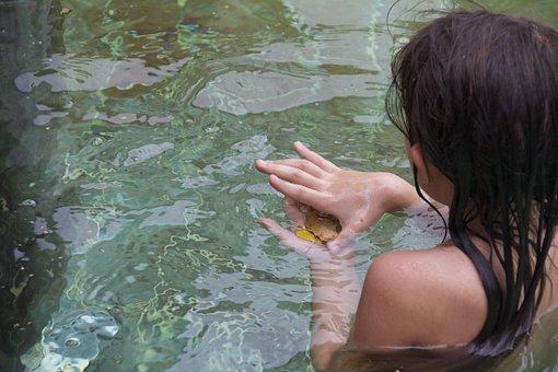 Baby, Water, Autumn, Bathing, Girl