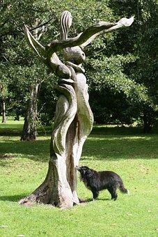Colly, Dog, Sculpture, Wood, Collie, Pet, Border Collie