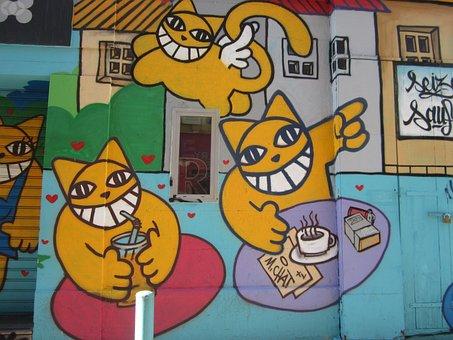 Graffiti, Cat, Cats, Animal, Kitten, Pets, Wall