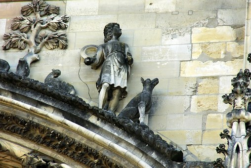 Reims, Cathedral, Sculpture, Berger, Dog, Herd