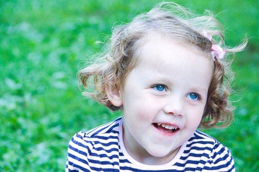 Little Girl, Blue Eyes, Happy, Caucasian, Baby, Face