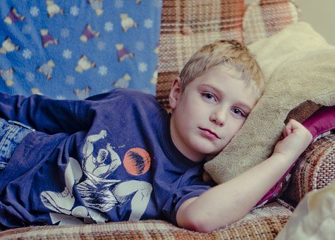 Boy, Cranky, Sad, Laying Down, Couch, Child, Kid