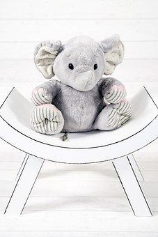 Elephant, The Mascot, Plush, Sitting, Toy, Studio