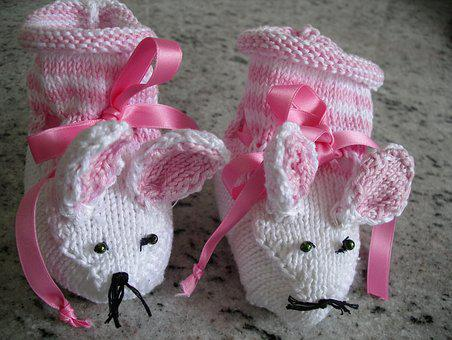 Baby Shoes, First Born Shoes, Knit Homemade Socks Mice