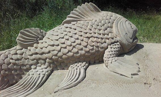 Fish, Sand, Statue, Sand Sculptures, Work Of Art