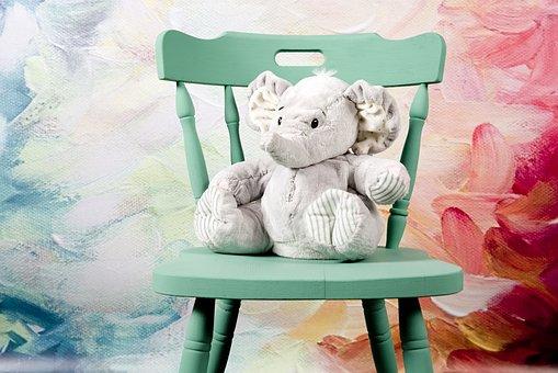 Elephant, Sitting, Plush, The Mascot, Toy, Gray, Studio