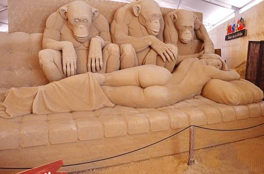 Sand Sculpture, Woman, Artwork, Sandworld
