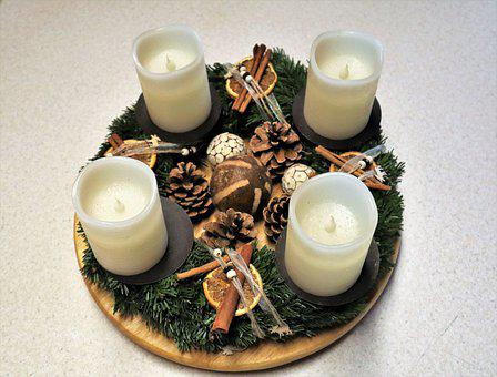 Advent, Advent Wreath, Candles, Cinnamon Sticks