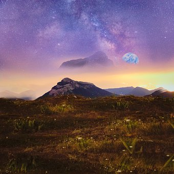 Mountain, Earth, Planet, Stars, Astronomy