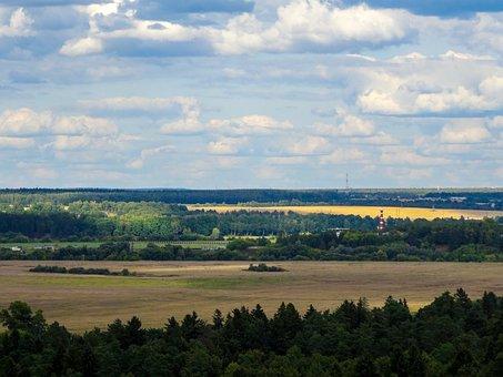 Fields, Clouds, Horizon, Trees, Plains, Land, Landscape
