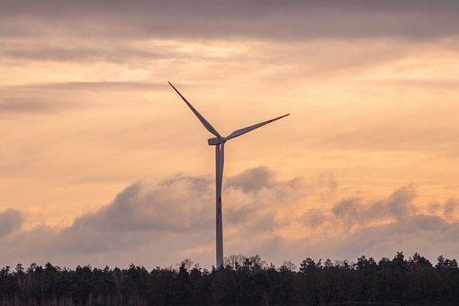 Windmill, Trees, Sunset, Sunrise, Dawn, Dusk