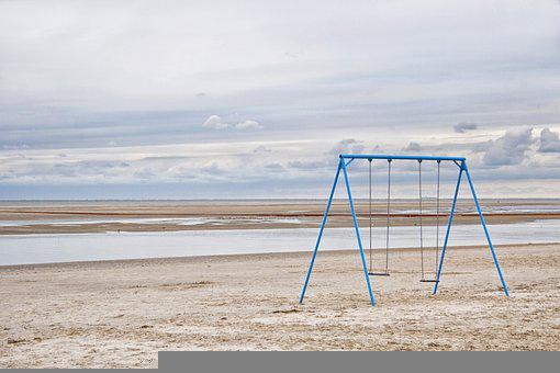 Beach, Swings, Sand, Sandy Beach, Low Tide, Horizon
