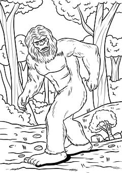 Bigfoot, Mythical Creatures, Drawing, Sketch