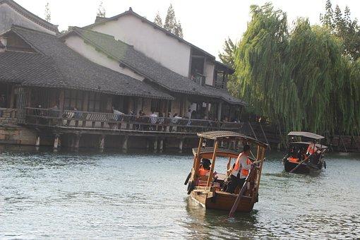 Boat, Black Awning Boat, Wupeng Boat, River